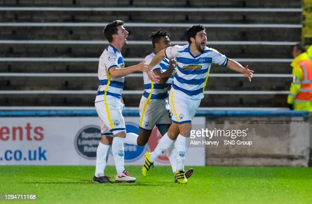 Thomas O'Ware celebrates after scoring his side's first goal for Morton