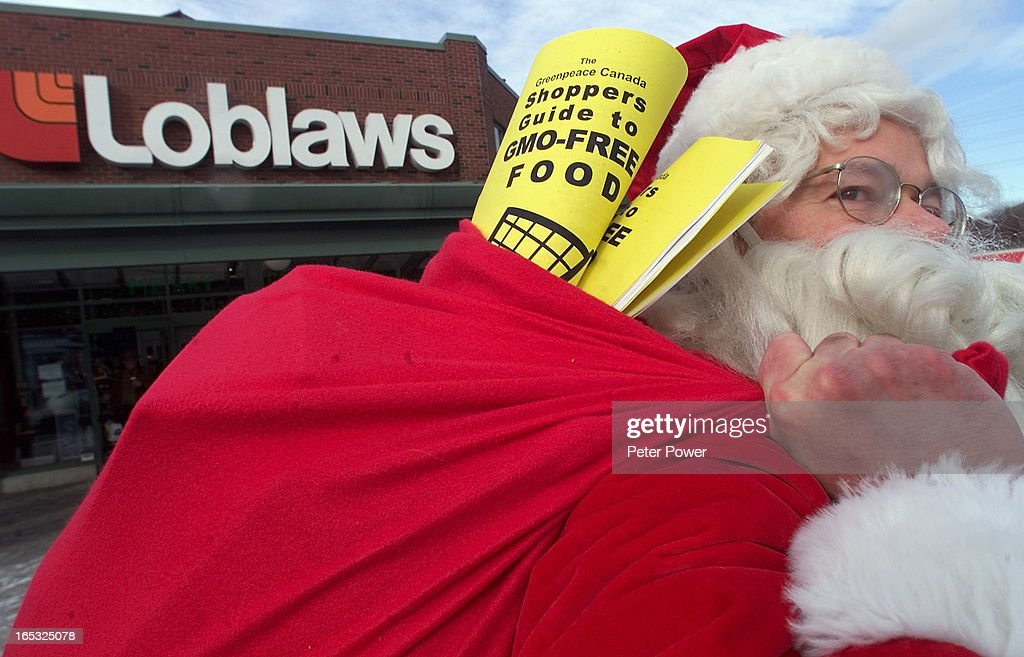 Greenpeace activist dressed up as Santa Claus accompanied
