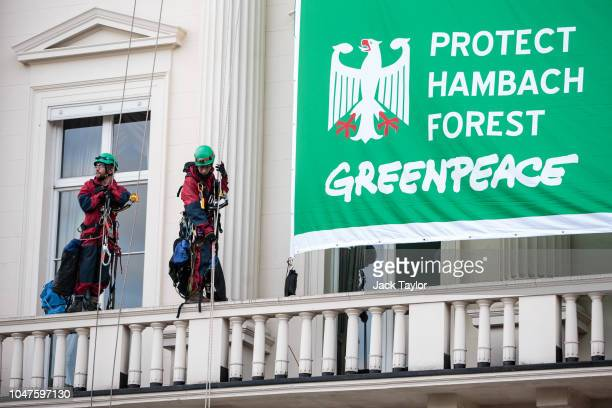 Greenpeace activists abseil down after unfurling a banner outside the German Embassy in a protest against coal on October 8, 2018 in London, England....
