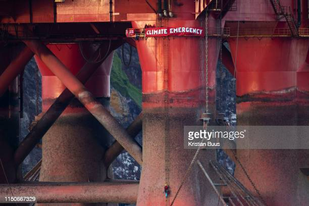 Greenpeace activists board a BP oil rig in Cromarty Firth to stop it from further oil drilling at sea June 10th 2019 Cromarty Scotland United Kingdom...
