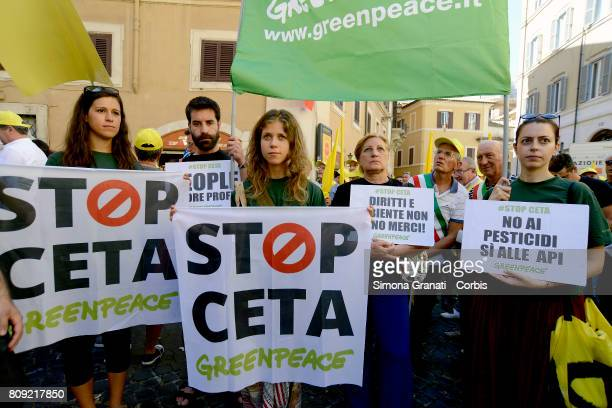 Greenpeace activists protest tagainst CETA on July 5 2017 in Rome Italy Protesters are demonstrating in Rome in front of the Italian Parliament...