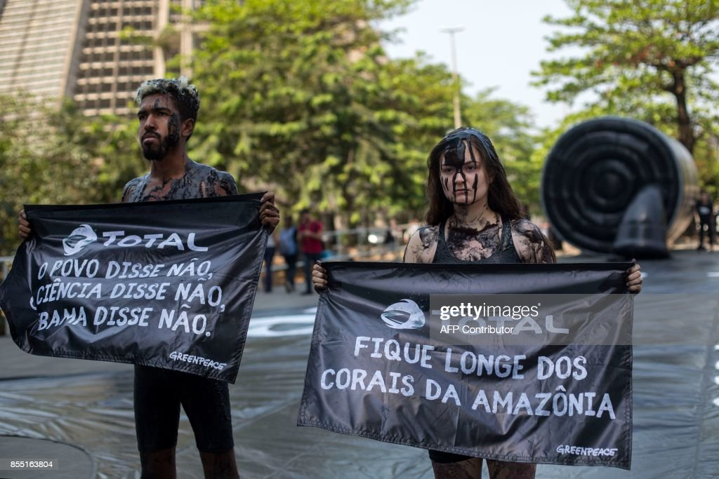 BRAZIL-FRANCE-GREENPEACE-AMAZON-OIL-CORAL REEF-PROTEST : News Photo