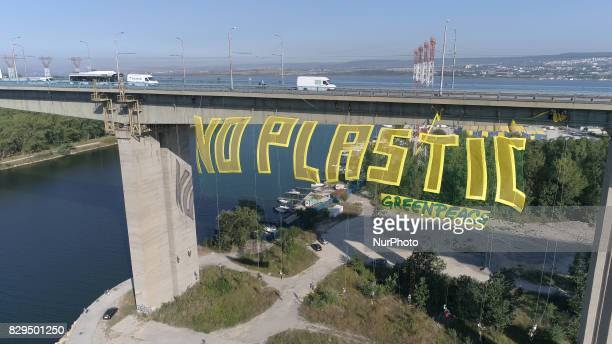 Greenpeace activists wave a big 50 metters long and 15 metters tall transperant wich says No Plasticquot over 60 metters high Asparuhov bridge in the...