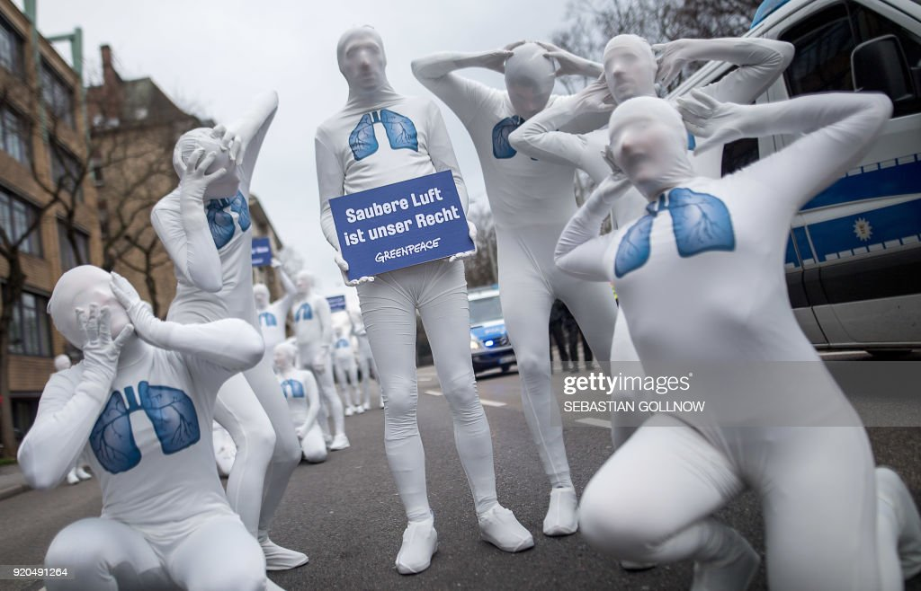 Greenpeace activists stage an action against  diesel exhaust in Stuttgart