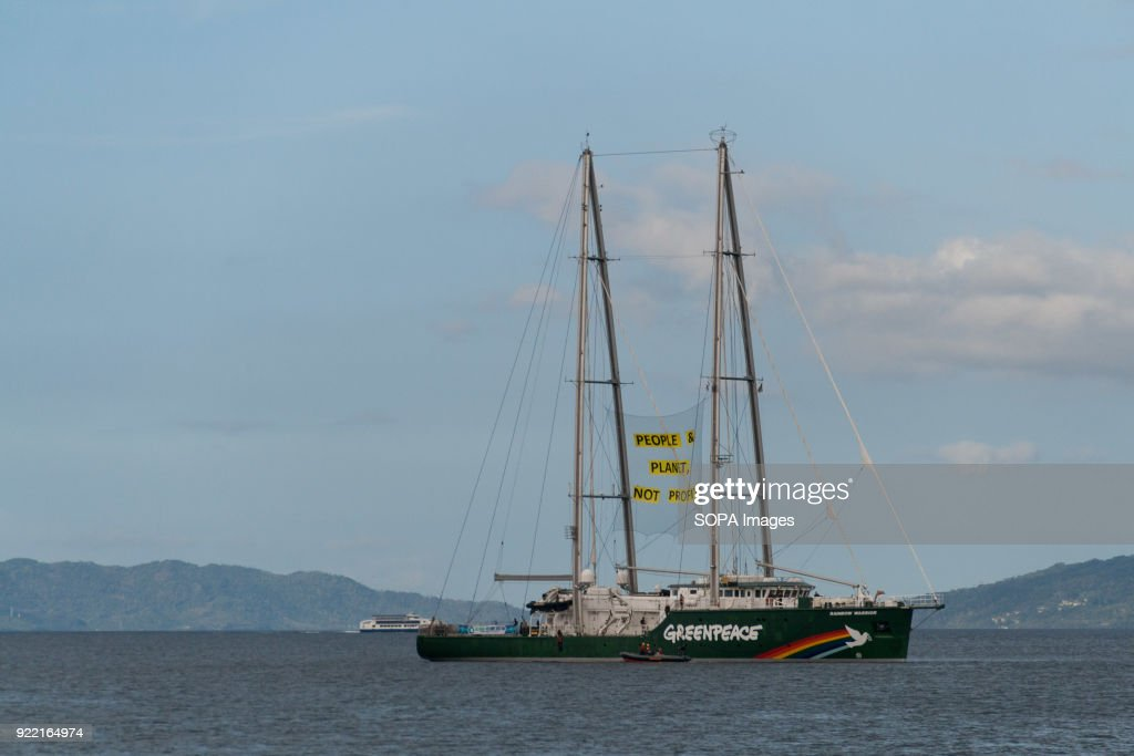 Greenpeace boat seen near the Shell Gas refinery in Batangas as they demand the gas company to take responsibility for their damage to the environment. The eco-warriors demanded that Shell attend the hearing led by the Commission on Human Rights regarding the effects of fossil fuel businesses on human rights. The hearings are set on the 27th of March, 2018.