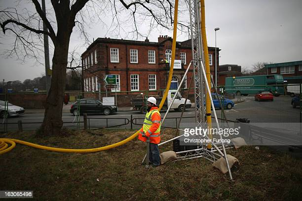 Greenpeace campaigners protest against gas fracking outside the constituency office of Chancellor George Osborne on March 4 2013 in Knutsford England...