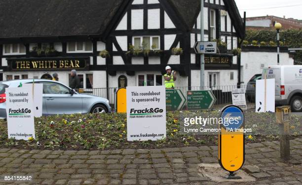 Greenpeace campaigners set up a fake drilling operation on the village green in Knutsford outside the local Conservative club in George Osborne's...