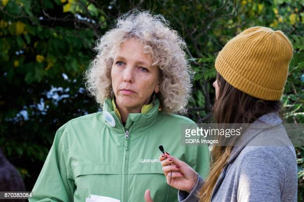 Greenpeace International Executive Director Jennifer Morgan doing a Facebook live interview with Cristiana De Lia during the Peoples Climate March at...