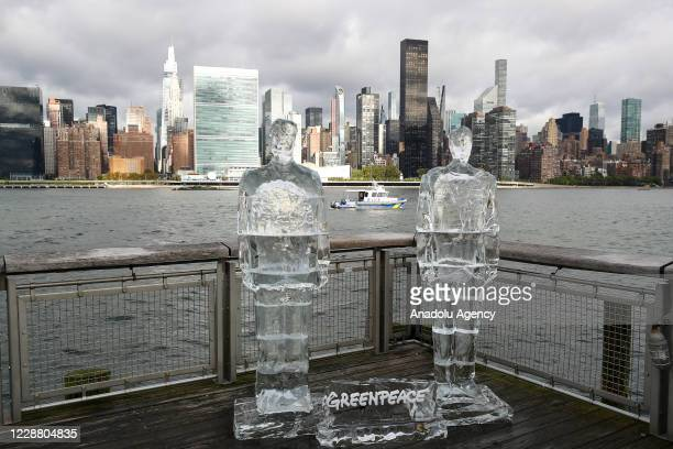 Greenpeace placed life-size ice sculptures of U.S President Donald Trump and Brazilian President Bolsonaro to bring attention for global warming as...
