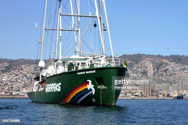 Greenpeace Rainbow Warrior ship arrives to Valparaiso in support of the global campaign 'Defend the Seas of the End of the World' at Valparaiso...
