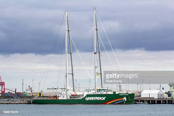 greenpeace rainbow warrior vessel - greenpeace stock pictures, royalty-free photos & images