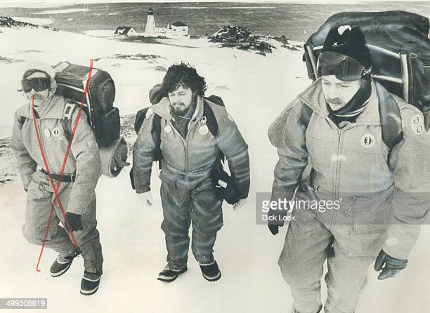 Greenpeace seal hunt protesters Paul Watson left and Dr Patrick Moore on Sable Island during the recent protest