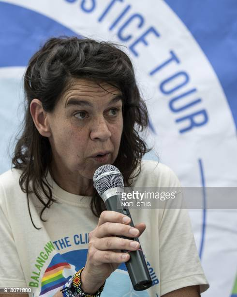 Greenpeace's Rainbow Warrior captain Hettie Geenen answers questions during a press conference while on board Greenpeace's iconic Rainbow Warrior...