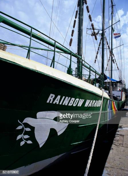 greenpeace's rainbow warrior docked in barcelona - greenpeace stock pictures, royalty-free photos & images