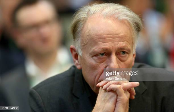 Greens Bundestag Member Juergen Trittin attends a party federal Congress of Alliance 90/The Greens on November 25 2017 in Berlin Germany After...