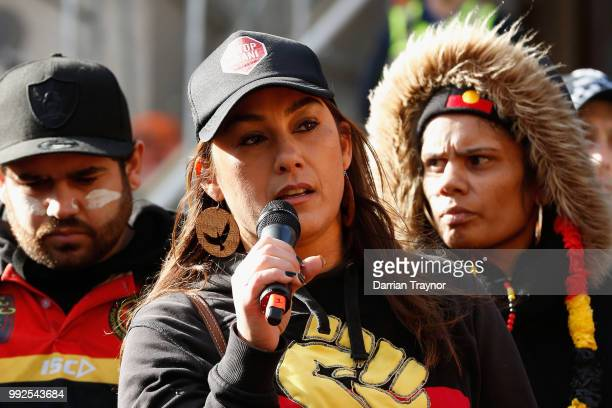 Greens MLA Lidia Thorpe speaks to thousands of people on the steps of Parliament House on July 6 2018 in Melbourne Australia The march marks the...