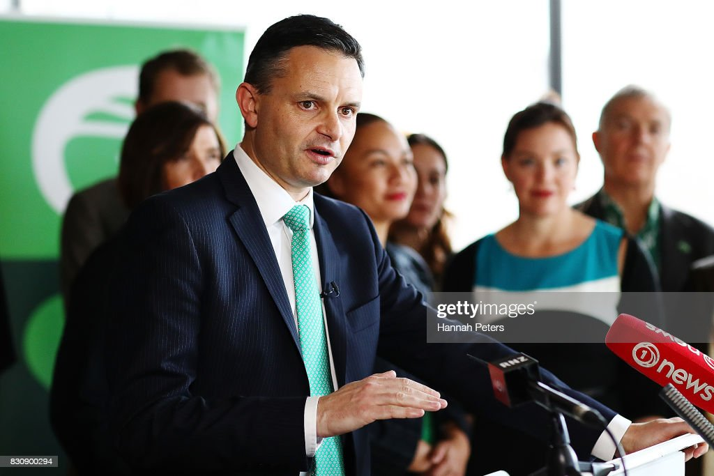 Greens Party Leader James Shaw speaks at the relaunch of the Greens Party on August 13, 2017 in Auckland, New Zealand. The Greens Party have relaunched their party with a new slogan 'Love New Zealand'.