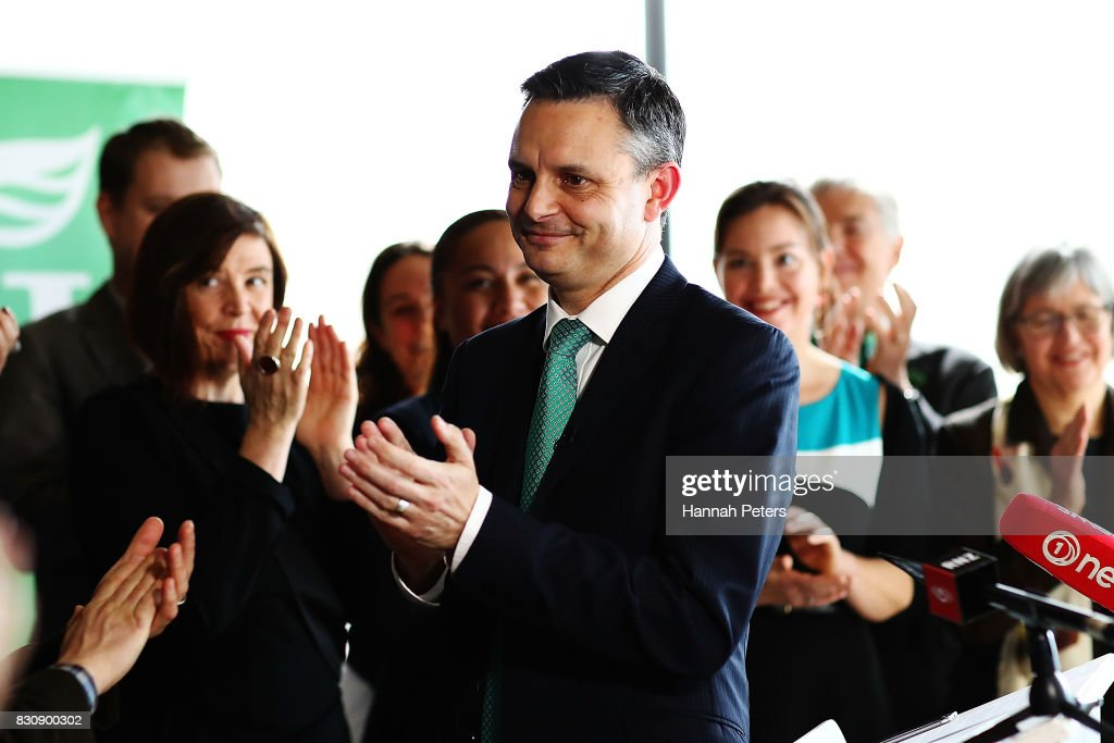 Greens Party Leader James Shaw thanks his party members at the relaunch of the Greens Party on August 13, 2017 in Auckland, New Zealand. The Greens Party have relaunched their party with a new slogan 'Love New Zealand'.