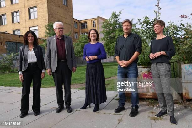 Greens Party leading members, including Berlin mayoral candidate Bettina Jarasch, Baden-Wurttemberg premier Winfried Kretschmann, chancellor...