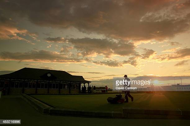 Greenstaff cut the practice putting green beside the new 'old Pavillion' and first tee on the Old Course at St Andrews venue for The Open...