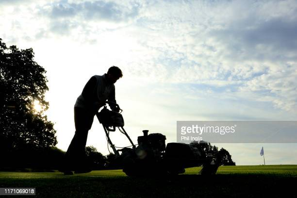 Greenstaff preparing the course during the first round of the Sinclair Invitational played at Hanbury Manor Marriott Hotel & Country Club on August...