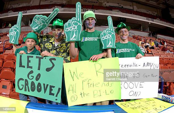 Greenville Grooves fans show their support before the game against the Columbus Riverdragons at the BiLo Center in Greenville South Carolina DIGITAL...