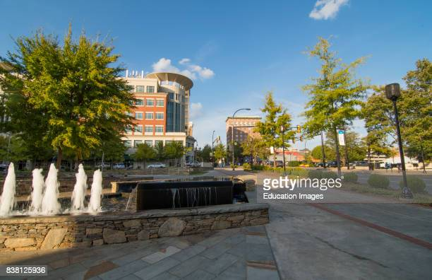 Greenville South Carolina fountain in downtown on S Main Street center at Marriott Courtyard in The Peace Center