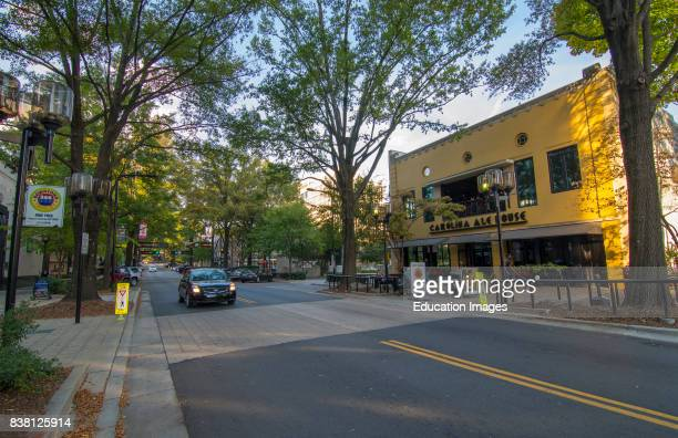 Greenville South Carolina traffic in downtown on Main Street center town