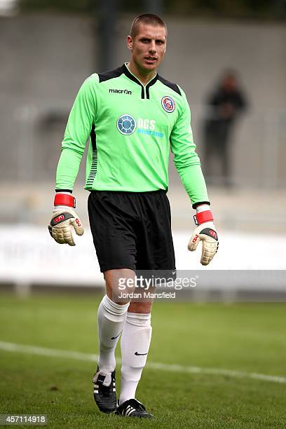 Greenwich goalkeeper Craig Holloway looks on during the FA Cup Qualifying Third Round match between Greenwich Borough FC and Redhill on October 12...