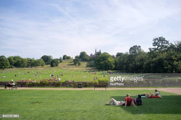 Greenwich Opservatory park is pictured in London on August 28 2017 The August Bank Holiday has seen sunny weather and hot temperature People gathered...