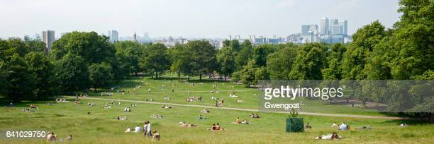 greenwich park overlooking london - greenwich london stock pictures, royalty-free photos & images