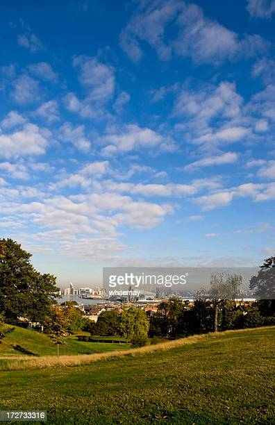 greenwich park, river thames and millenium dome - millenium park bildbanksfoton och bilder