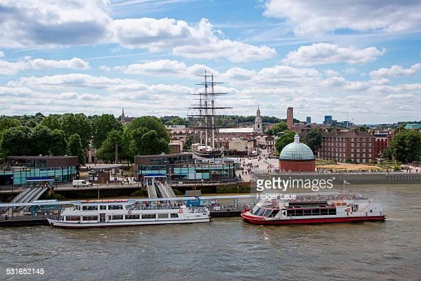 Greenwich Pier and sailing ship Cutty Sark