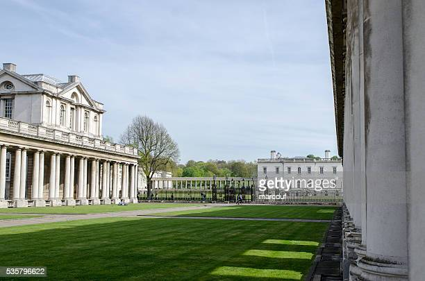 greenwich university: queen mary court  and queen's house - mary i of england stock photos and pictures
