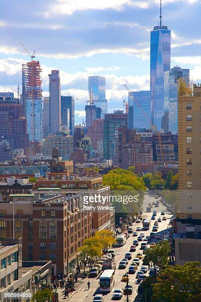 greenwich village from high up sixth ave., nyc - sixth avenue stock pictures, royalty-free photos & images