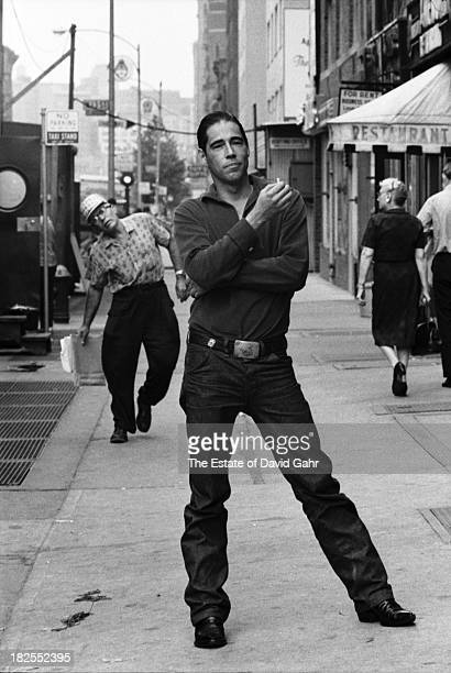 Greenwich Villagebased folk musician and singer songwriter Peter La Farge poses for a portrait in August 1962 in Greenwich Village New York City New...
