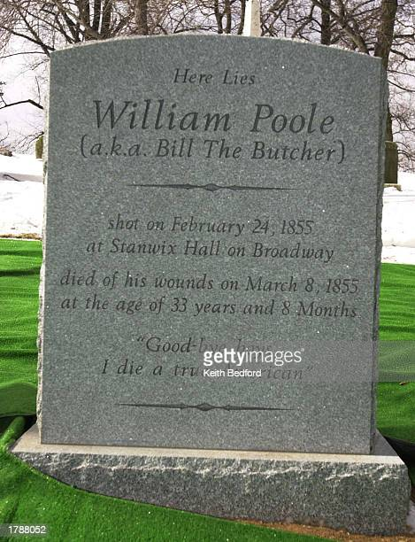 """Greenwood Cemetary unveils the tombstone of William """"Bill The Butcher"""" Poole at a ceremony February 13, 2003 in the Brooklyn Borough of New York..."""