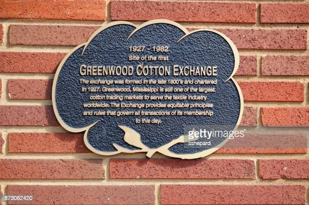 greenwood cotton exchange sign on building exterior - greenwood stock pictures, royalty-free photos & images