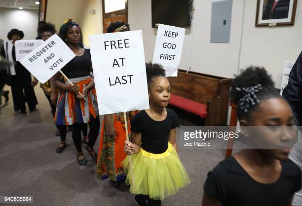 Greenwood Praise Dancers take part in the Tristate Rainbow PUSH Coalition preMLK 50 kick off service at Mt Olive Cathedral CME Church on April 1 2018...