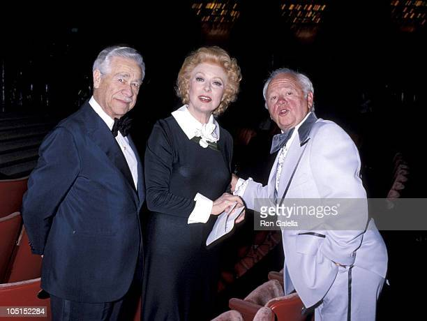 Greer Garson Buddy Fogelson and Mickey Rooney during 50th Annual Academy Awards at Dorothy Chandler Pavillion in Los Angeles California United States