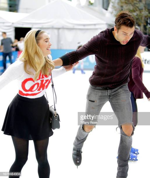 Greer Grammer and Pierson Fode attends Instagram's #Instaskate 2018 at LA Kings Holiday Ice LA Live on November 27 2018 in Los Angeles California