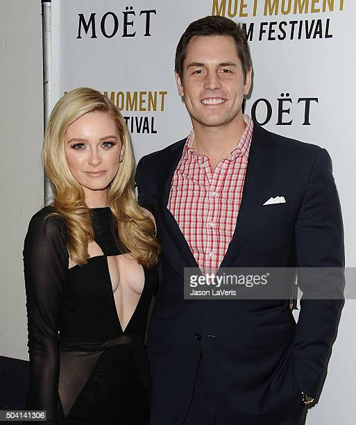 Greer Grammer and Tyler Konney attend the Moet and Chandon celebration of The Golden Globes on January 8 2016 in West Hollywood California