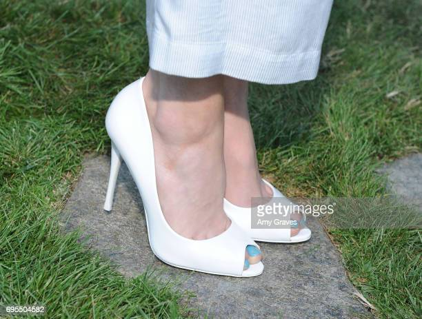 Greer Grammer shoe detail attends the Popular X Wildfox Cover Launch Event For Madelaine Petsch in Los Angeles on June 12 2017 in Los Angeles...