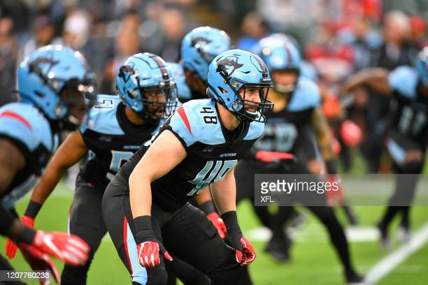 Greer Martini of the Dallas Renegades lines up for kickoff during the XFL game against the St. Louis BattleHawks at Globe Life Park on February 9,...