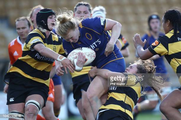 Greer Muir of Otago is tackled during the round five Farah Palmer Cup match between Taranaki and Otago at Yarrow Stadium on September 29 2018 in New...