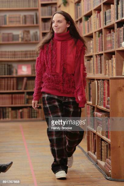 KOCHÉ greet and thank the audience after her Koche PreFall 2018 Runway Show at Strand Bookstore on December 12 2017 in New York City