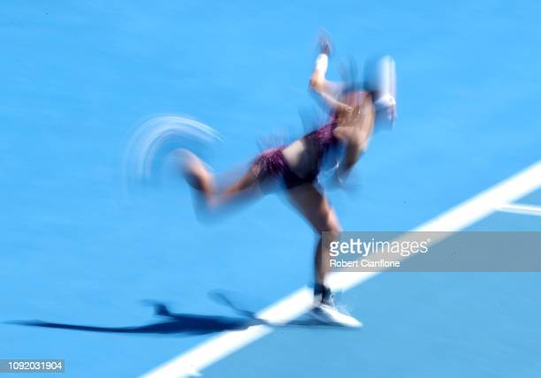 Greet Minnen of Belgium plays a shot during her singles quarter final against Alize Cornet of France during day six of the 2019 Hobart International...