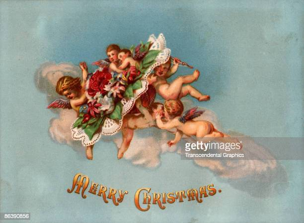 Greeting card depicts a group of cherubs as they cavort on a cloud accompanied by the text 'Merry Christmas' 1871