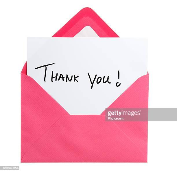 Greeting card in pink envelope