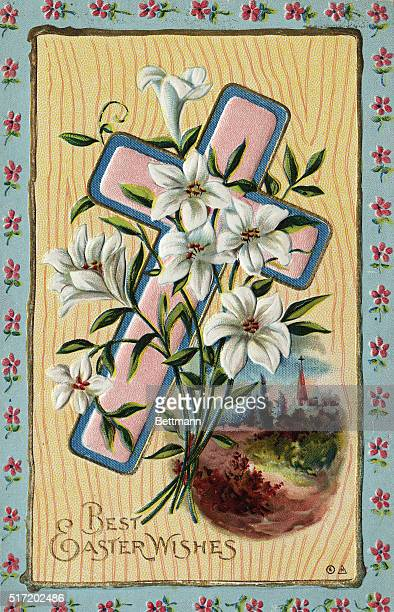 Greeting card reads 'Best Easter Wishes' and shows a cross with Easter lillies and an oval scene of a town in spring bloom Undated illustration